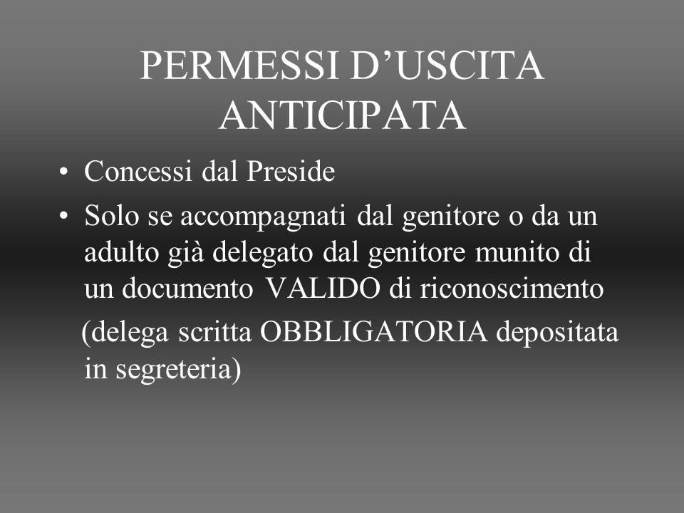 PERMESSI D'USCITA ANTICIPATA