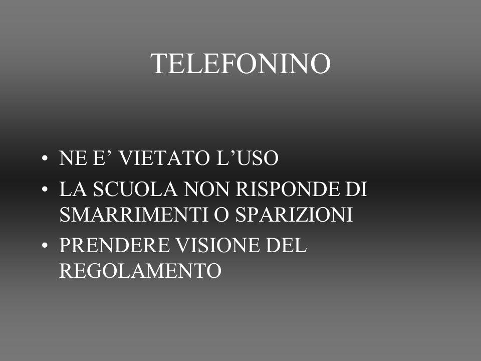 TELEFONINO NE E' VIETATO L'USO