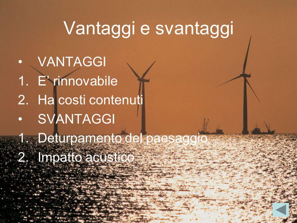Vantaggi e svantaggi VANTAGGI E' rinnovabile Ha costi contenuti