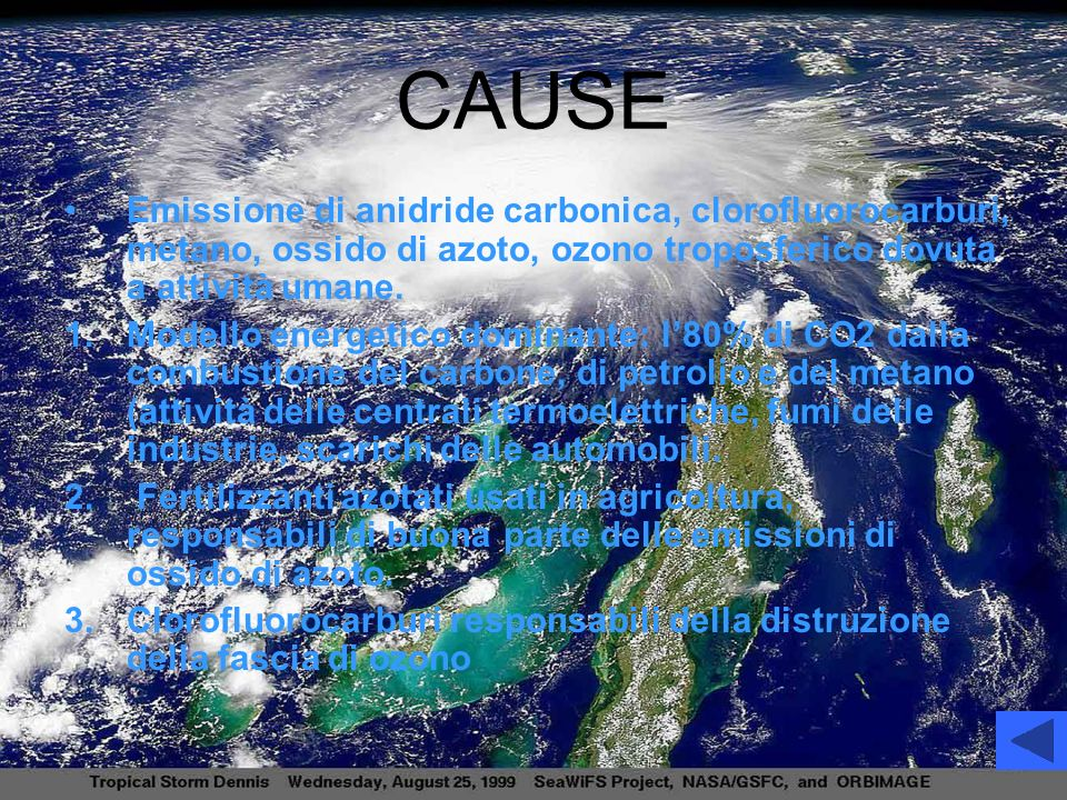 CAUSE Emissione di anidride carbonica, clorofluorocarburi, metano, ossido di azoto, ozono troposferico dovuta a attività umane.