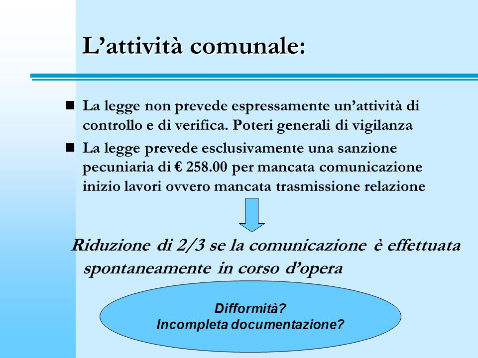 Incompleta documentazione