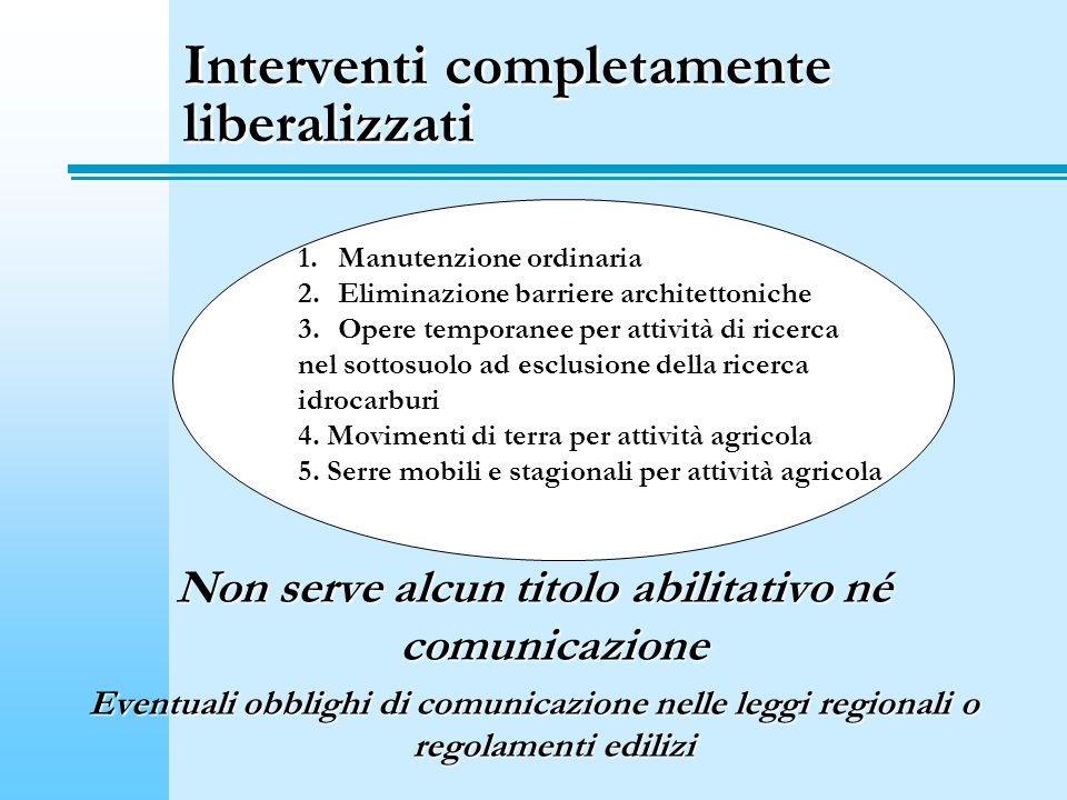 Interventi completamente liberalizzati
