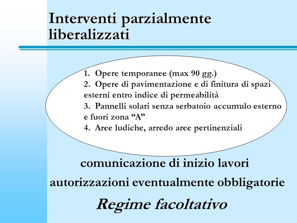 Interventi parzialmente liberalizzati