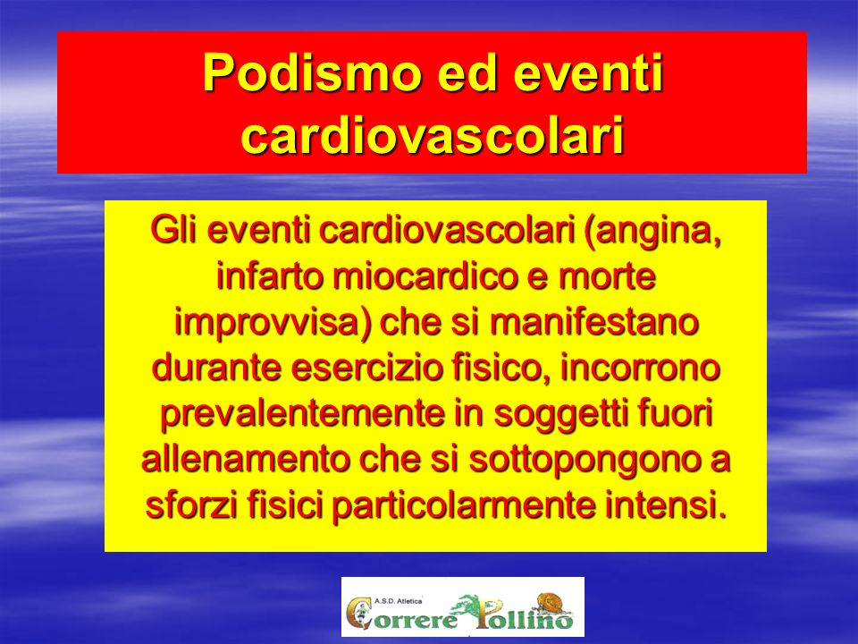 Podismo ed eventi cardiovascolari