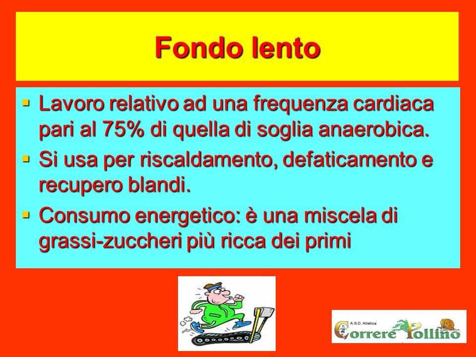 Fondo lento Lavoro relativo ad una frequenza cardiaca pari al 75% di quella di soglia anaerobica.