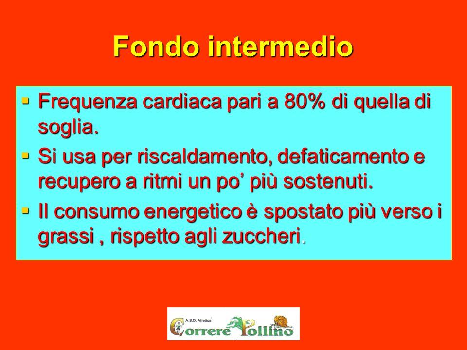 Fondo intermedio Frequenza cardiaca pari a 80% di quella di soglia.