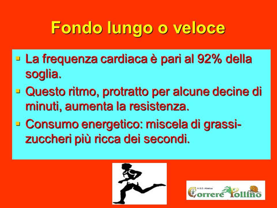 Fondo lungo o veloce La frequenza cardiaca è pari al 92% della soglia.