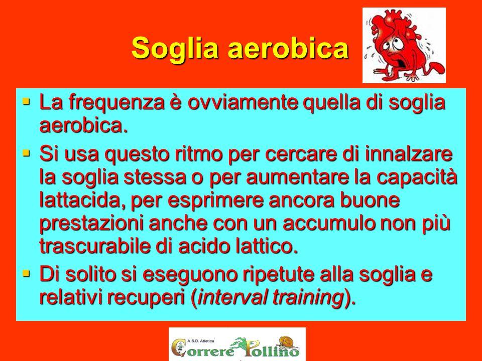 Soglia aerobica La frequenza è ovviamente quella di soglia aerobica.