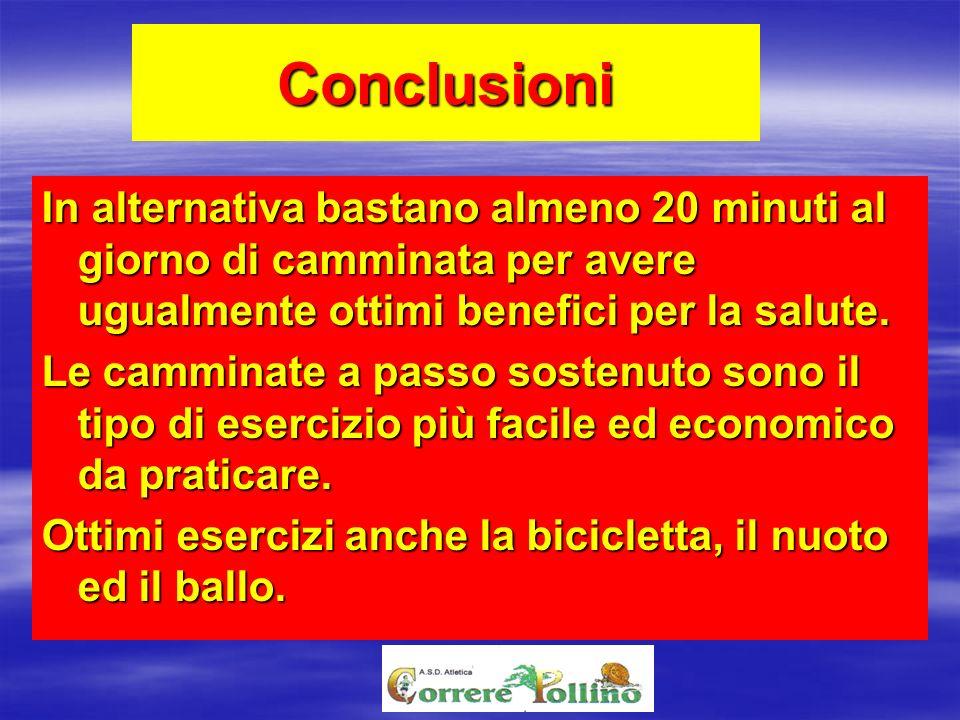 Conclusioni In alternativa bastano almeno 20 minuti al giorno di camminata per avere ugualmente ottimi benefici per la salute.
