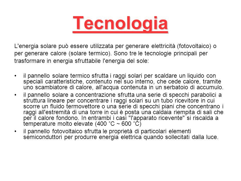 Tecnologia L energia solare può essere utilizzata per generare elettricità (fotovoltaico) o.