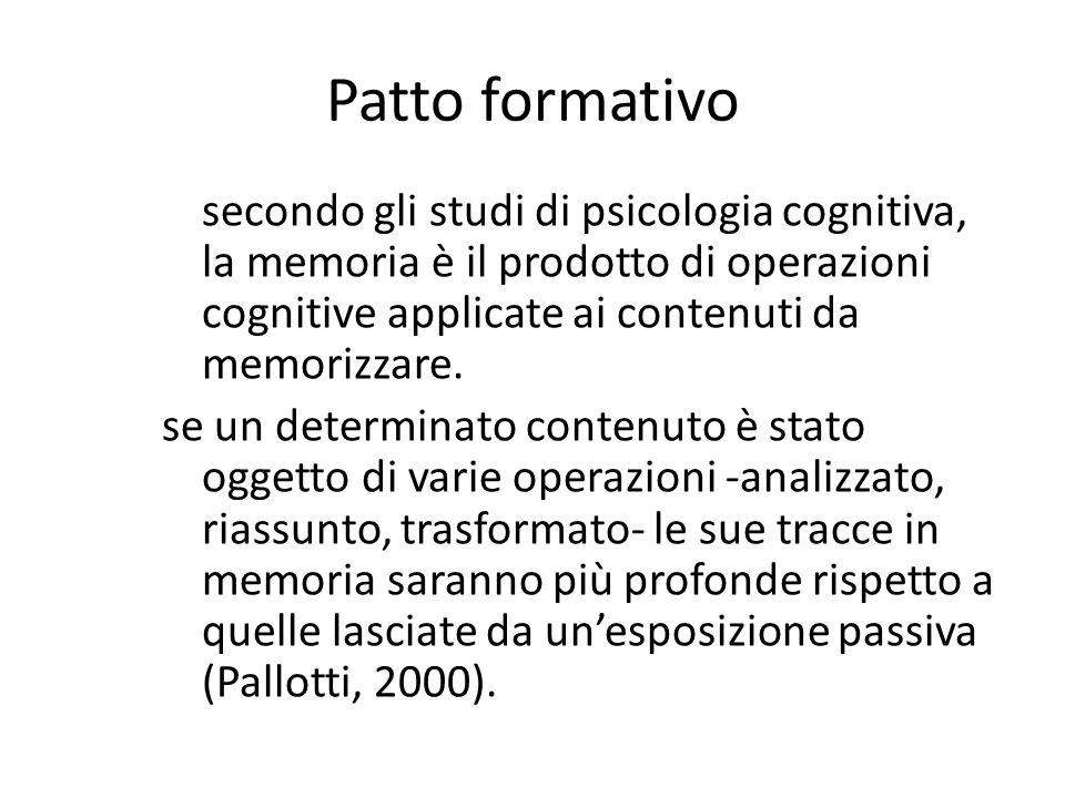 Patto formativo secondo gli studi di psicologia cognitiva, la memoria è il prodotto di operazioni cognitive applicate ai contenuti da memorizzare.