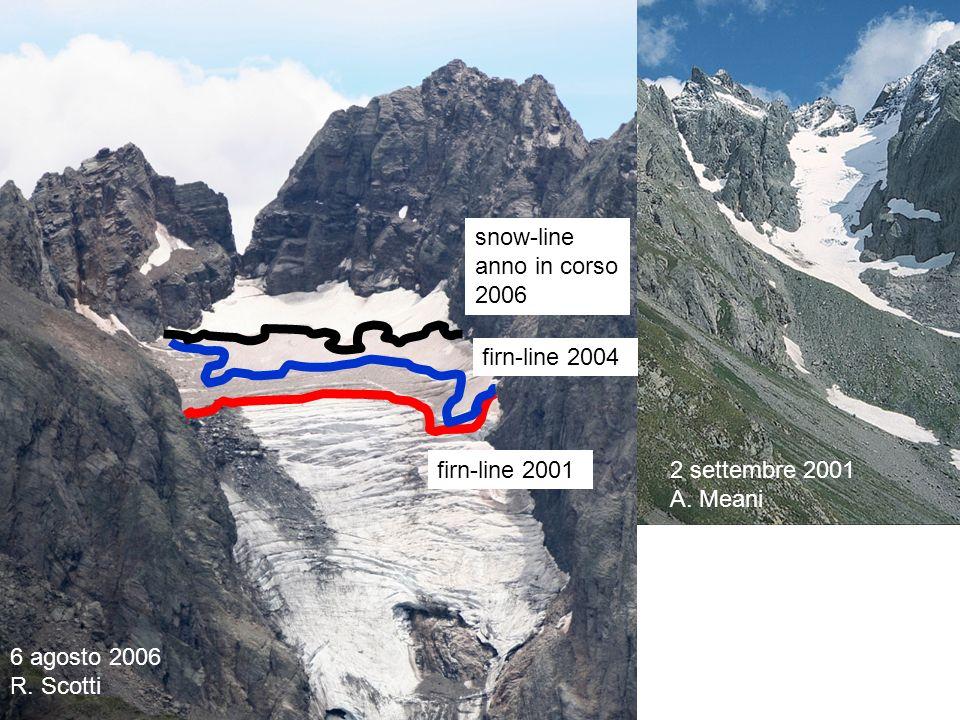 28 agosto 2007 P. Pagliardi. snow-line anno in corso. 2006. firn-line 2004. firn-line 2001. 2 settembre 2001.