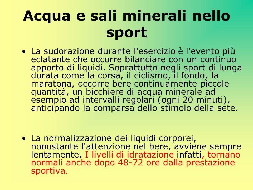 Acqua e sali minerali nello sport