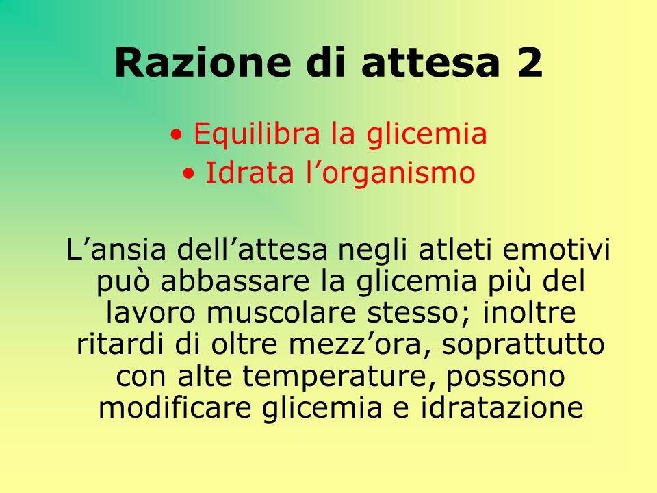 Razione di attesa 2 Equilibra la glicemia Idrata l'organismo