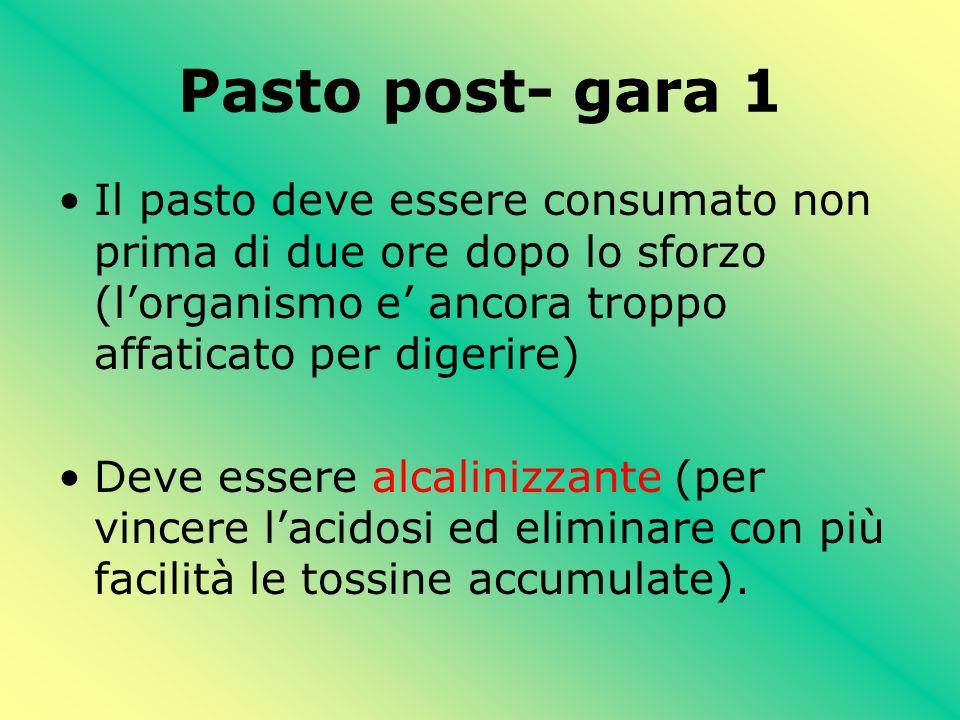 Pasto post- gara 1 Il pasto deve essere consumato non prima di due ore dopo lo sforzo (l'organismo e' ancora troppo affaticato per digerire)