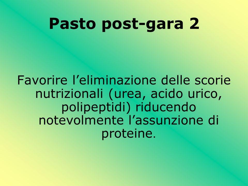 Pasto post-gara 2 Favorire l'eliminazione delle scorie nutrizionali (urea, acido urico, polipeptidi) riducendo notevolmente l'assunzione di proteine.