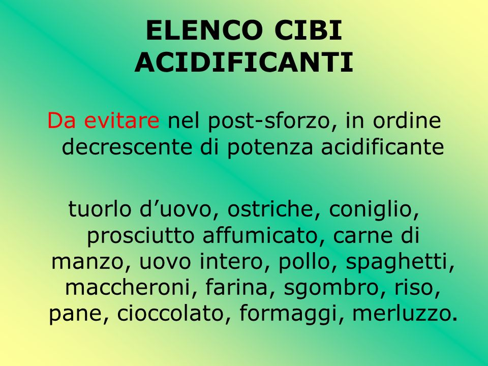 ELENCO CIBI ACIDIFICANTI