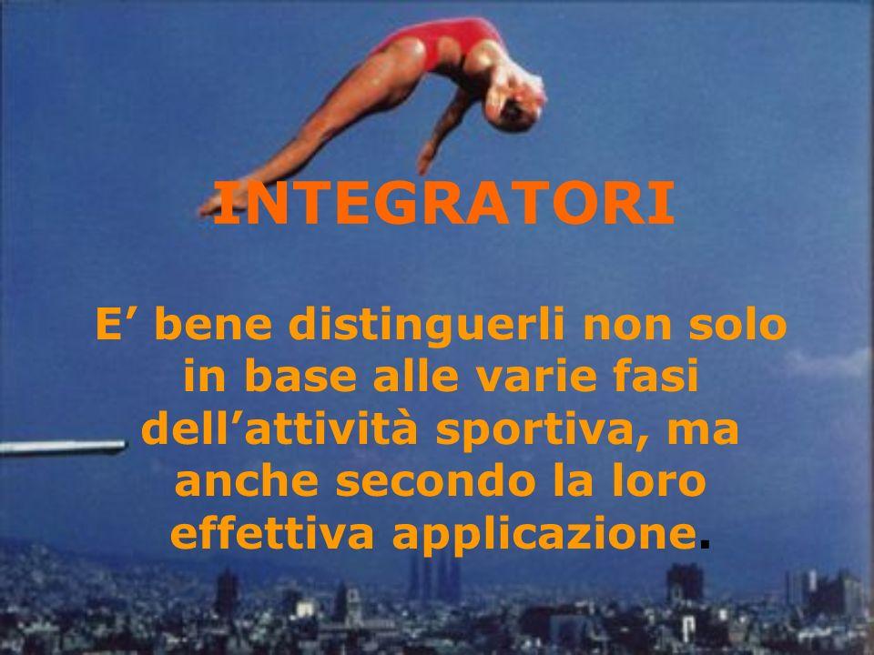 INTEGRATORI E' bene distinguerli non solo in base alle varie fasi dell'attività sportiva, ma anche secondo la loro effettiva applicazione.