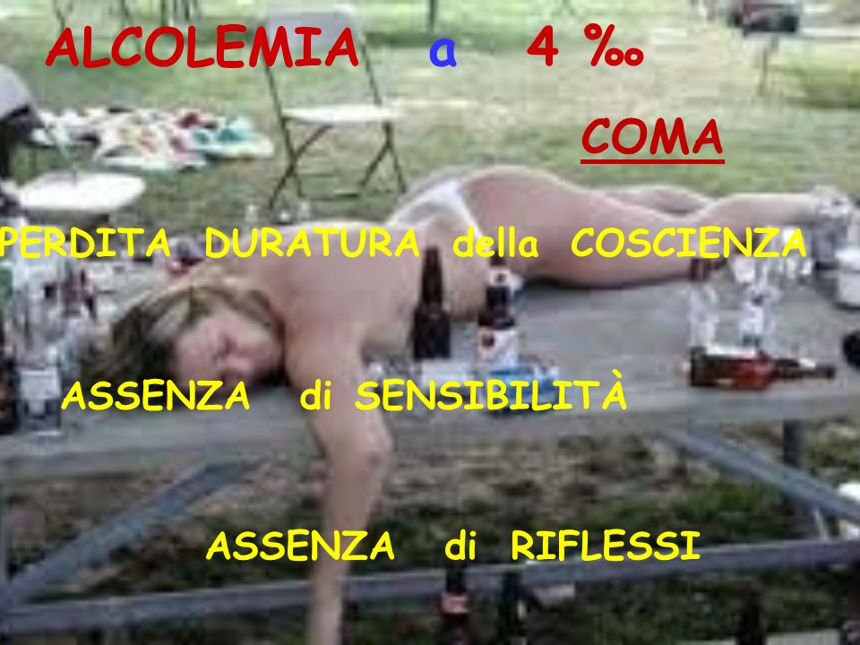 ALCOLEMIA a 4 ‰ COMA PERDITA DURATURA della COSCIENZA