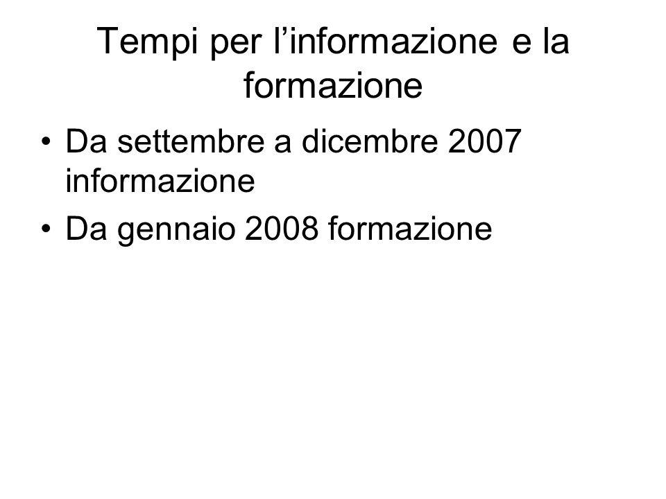 Tempi per l'informazione e la formazione