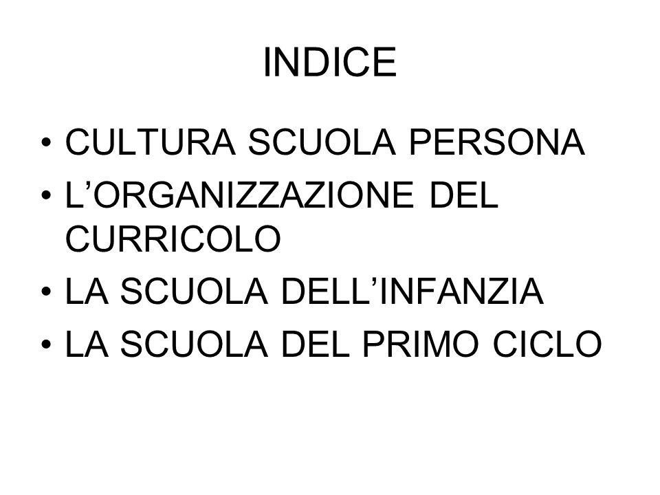 INDICE CULTURA SCUOLA PERSONA L'ORGANIZZAZIONE DEL CURRICOLO