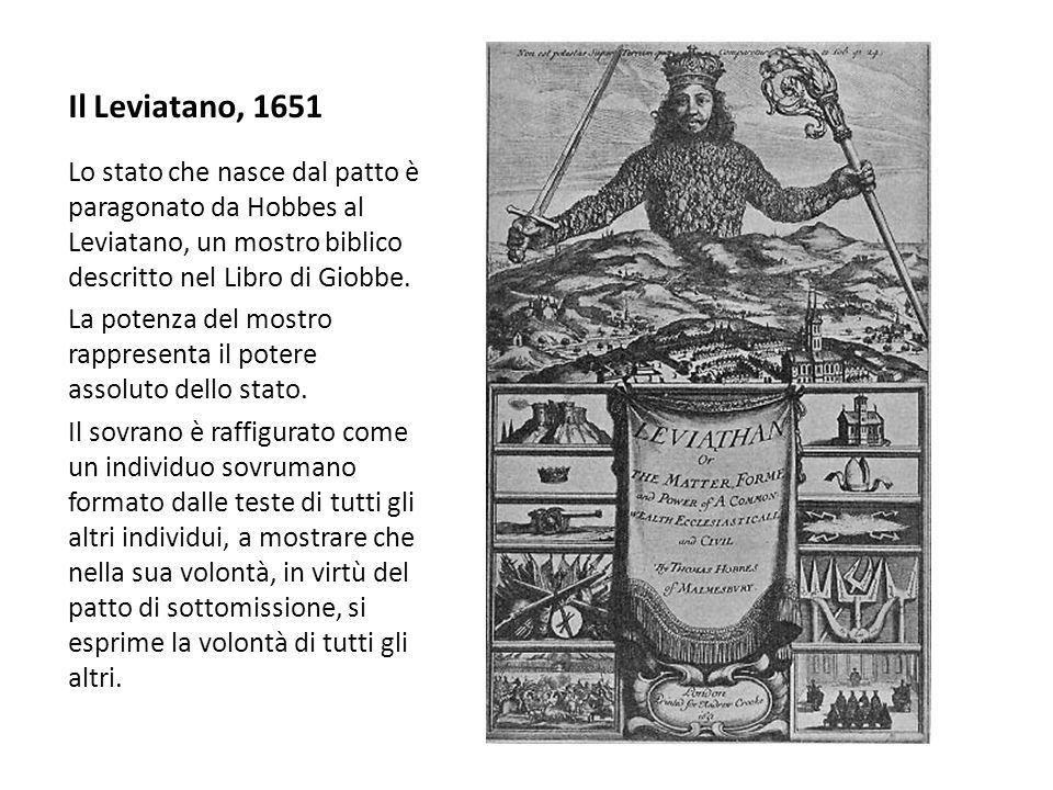Il Leviatano, 1651Lo stato che nasce dal patto è paragonato da Hobbes al Leviatano, un mostro biblico descritto nel Libro di Giobbe.