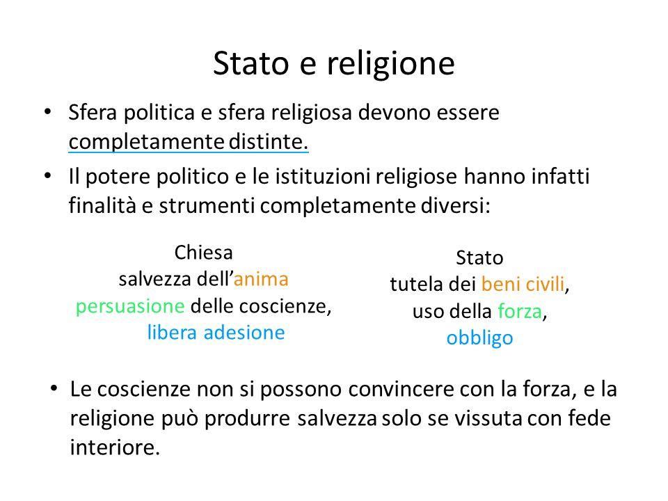 Stato e religione Sfera politica e sfera religiosa devono essere completamente distinte.