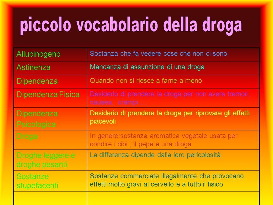 piccolo vocabolario della droga
