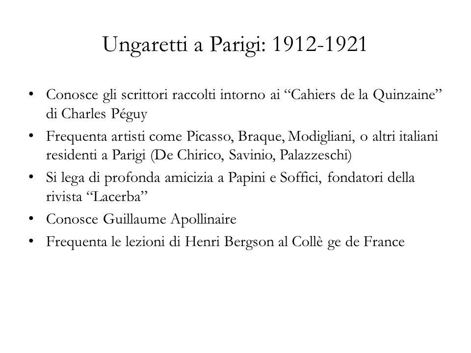 Ungaretti a Parigi: 1912-1921 Conosce gli scrittori raccolti intorno ai Cahiers de la Quinzaine di Charles Péguy.