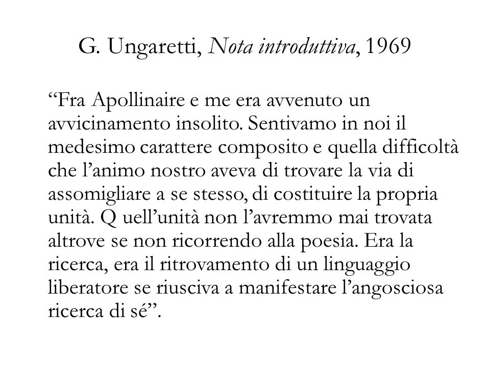 G. Ungaretti, Nota introduttiva, 1969