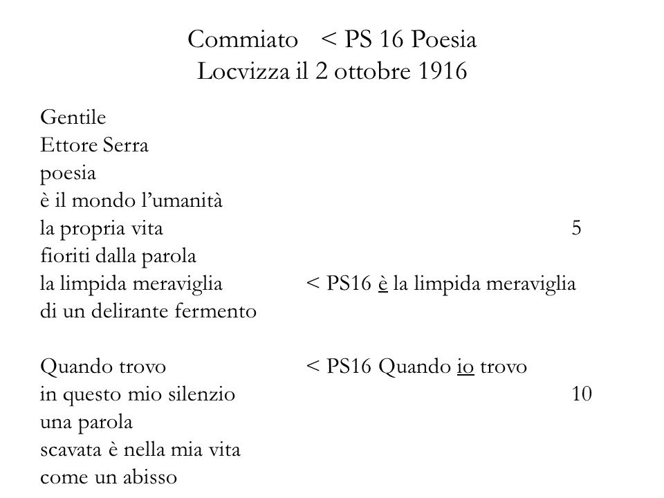 Commiato < PS 16 Poesia Locvizza il 2 ottobre 1916