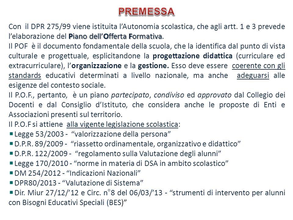 PREMESSA Con il DPR 275/99 viene istituita l'Autonomia scolastica, che agli artt. 1 e 3 prevede l'elaborazione del Piano dell'Offerta Formativa.