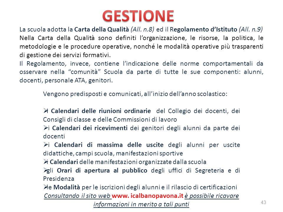 GESTIONE La scuola adotta la Carta della Qualità (All. n.8) ed il Regolamento d'Istituto (All. n.9)