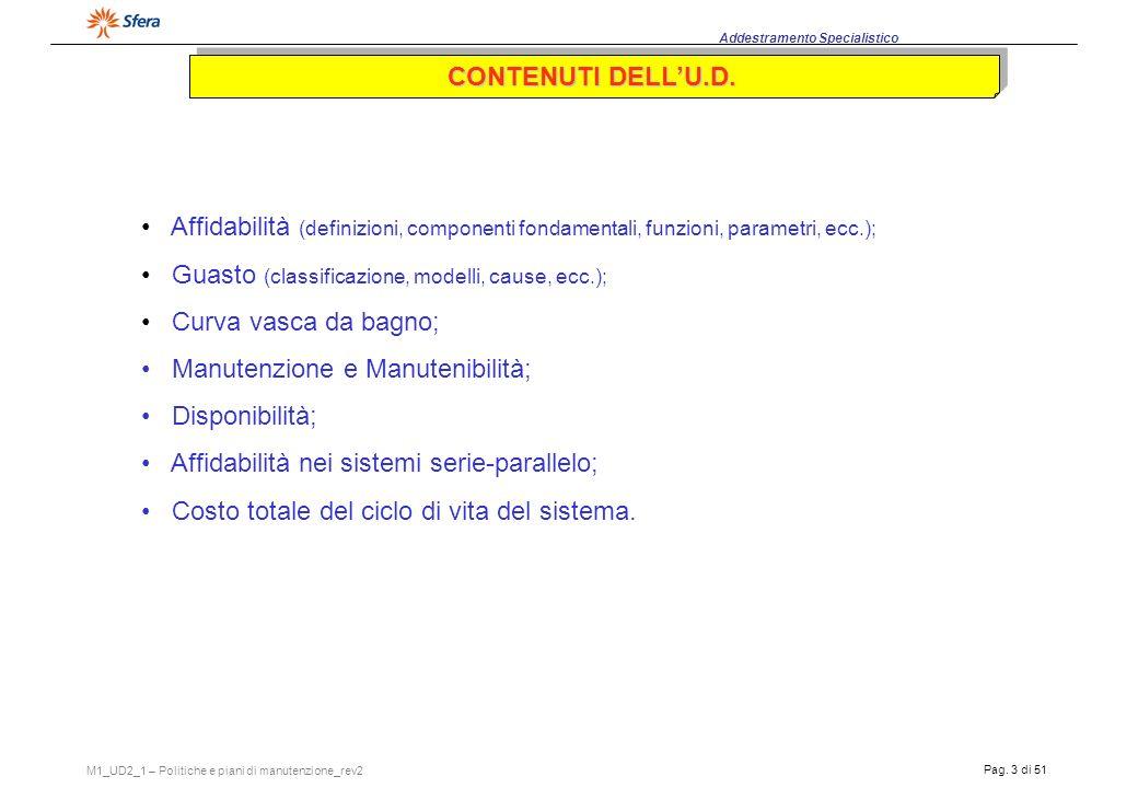 CONTENUTI DELL'U.D. Affidabilità (definizioni, componenti fondamentali, funzioni, parametri, ecc.);