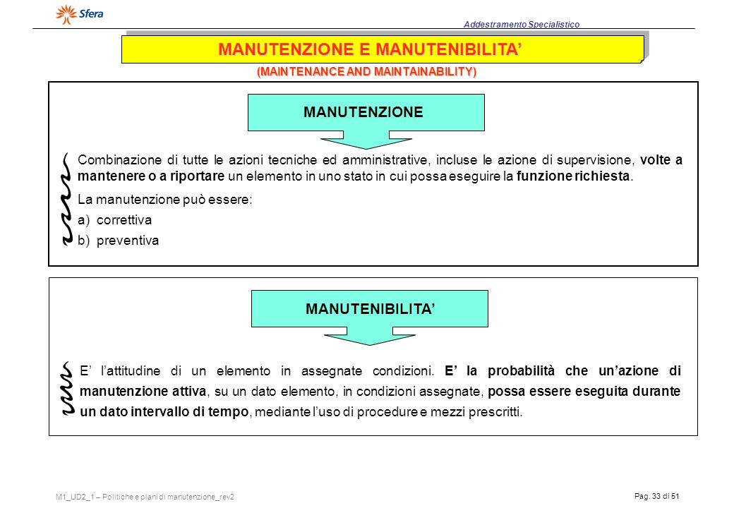 MANUTENZIONE E MANUTENIBILITA' (MAINTENANCE AND MAINTAINABILITY)