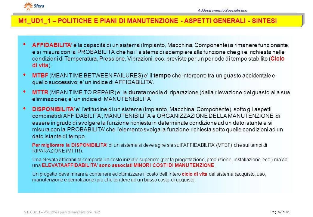 M1_UD1_1 – POLITICHE E PIANI DI MANUTENZIONE - ASPETTI GENERALI - SINTESI