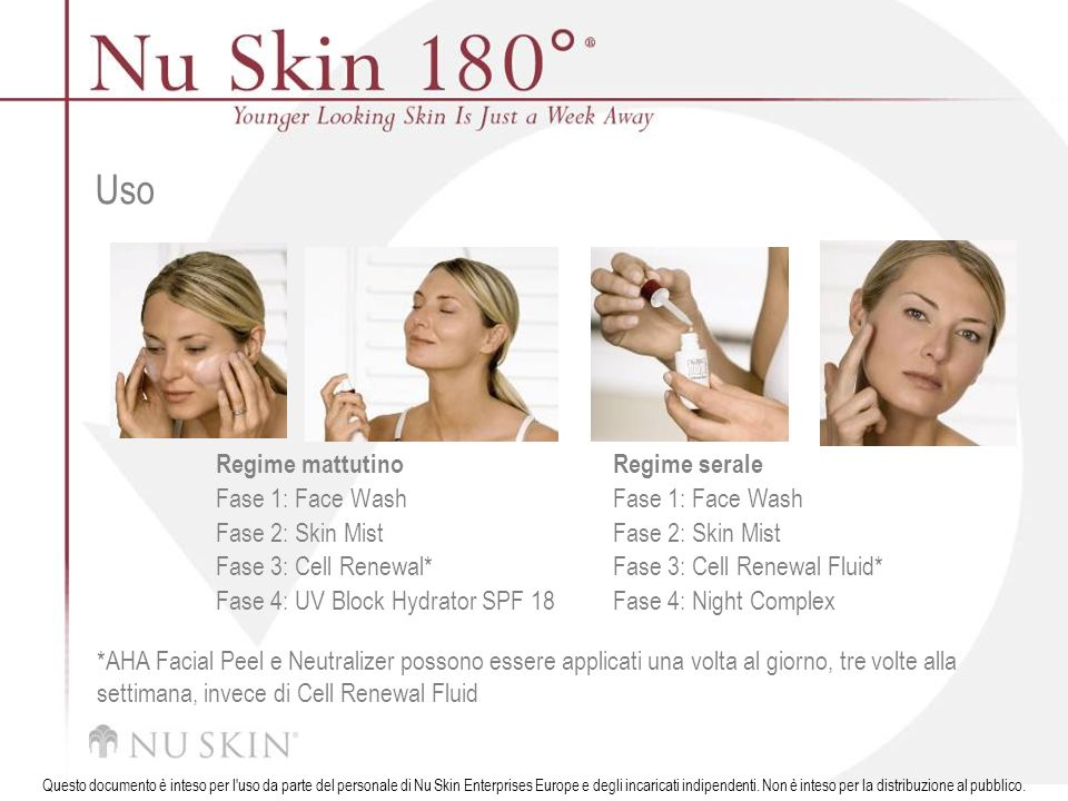 Uso Regime mattutino Fase 1: Face Wash Fase 2: Skin Mist