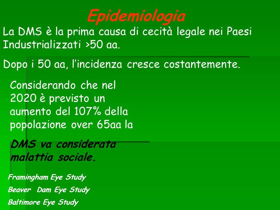 Epidemiologia La DMS è la prima causa di cecità legale nei Paesi Industrializzati >50 aa. Dopo i 50 aa, l'incidenza cresce costantemente.