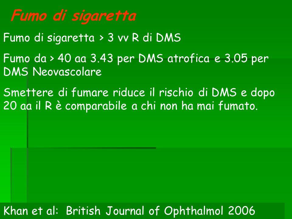 Fumo di sigaretta Fumo di sigaretta > 3 vv R di DMS