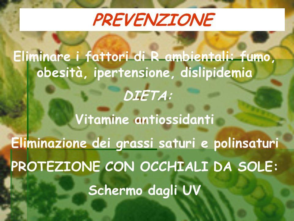 PREVENZIONE Eliminare i fattori di R ambientali: fumo, obesità, ipertensione, dislipidemia. DIETA: