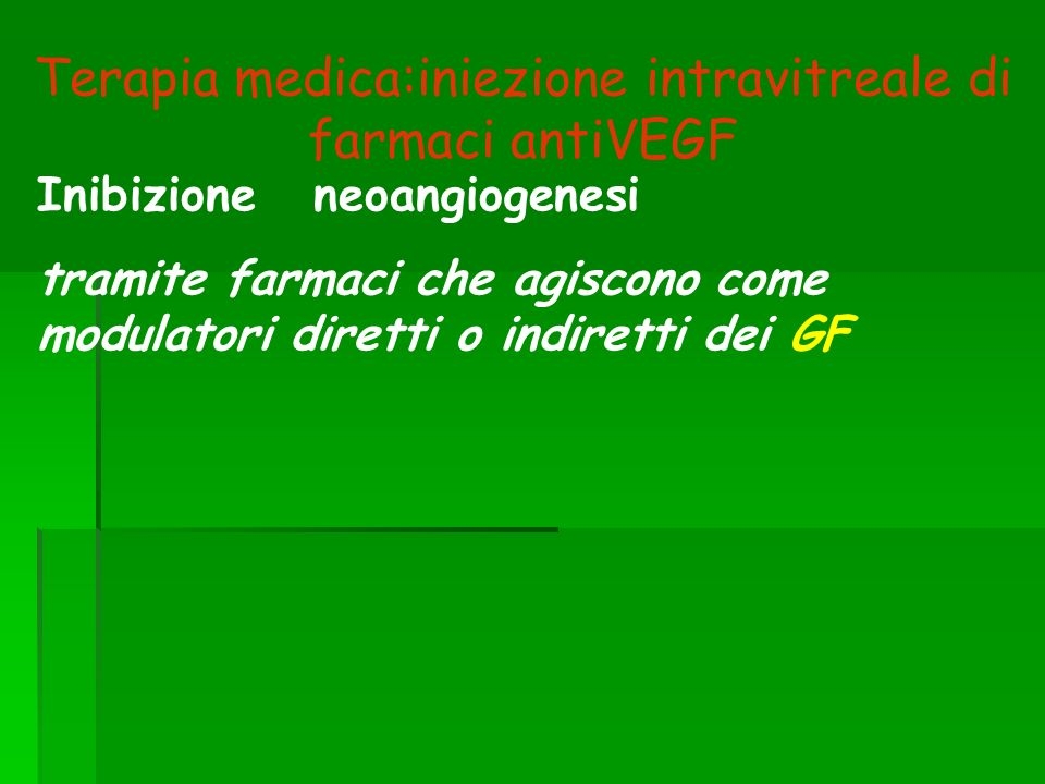 Terapia medica:iniezione intravitreale di farmaci antiVEGF