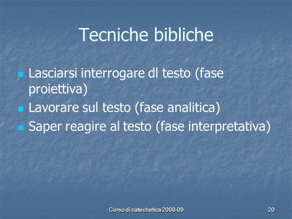 Tecniche bibliche Lasciarsi interrogare dl testo (fase proiettiva)