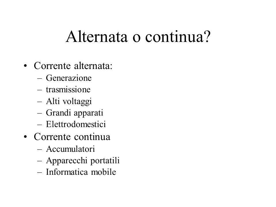 Alternata o continua Corrente alternata: Corrente continua