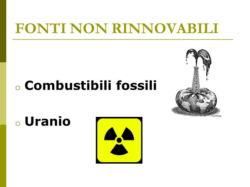 FONTI NON RINNOVABILI Combustibili fossili Uranio