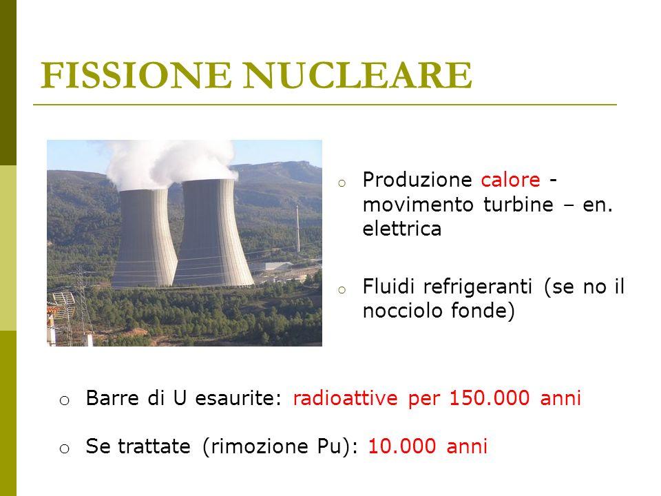 FISSIONE NUCLEARE Produzione calore - movimento turbine – en. elettrica. Fluidi refrigeranti (se no il nocciolo fonde)