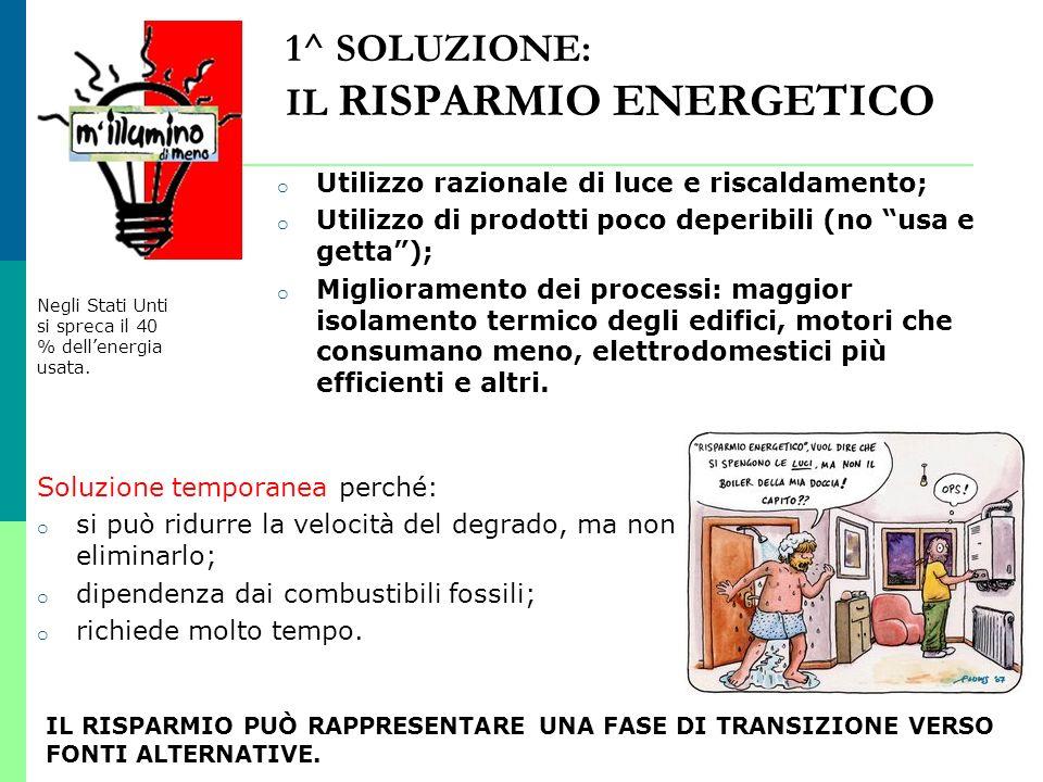 1^ SOLUZIONE: IL RISPARMIO ENERGETICO
