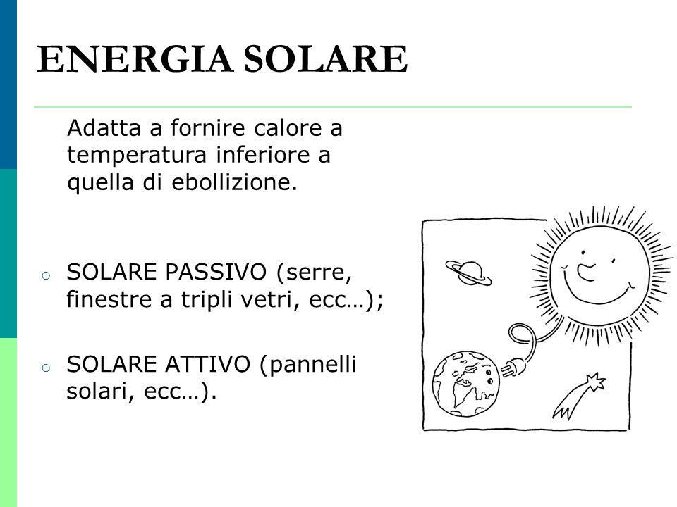 ENERGIA SOLARE Adatta a fornire calore a temperatura inferiore a quella di ebollizione. SOLARE PASSIVO (serre, finestre a tripli vetri, ecc…);