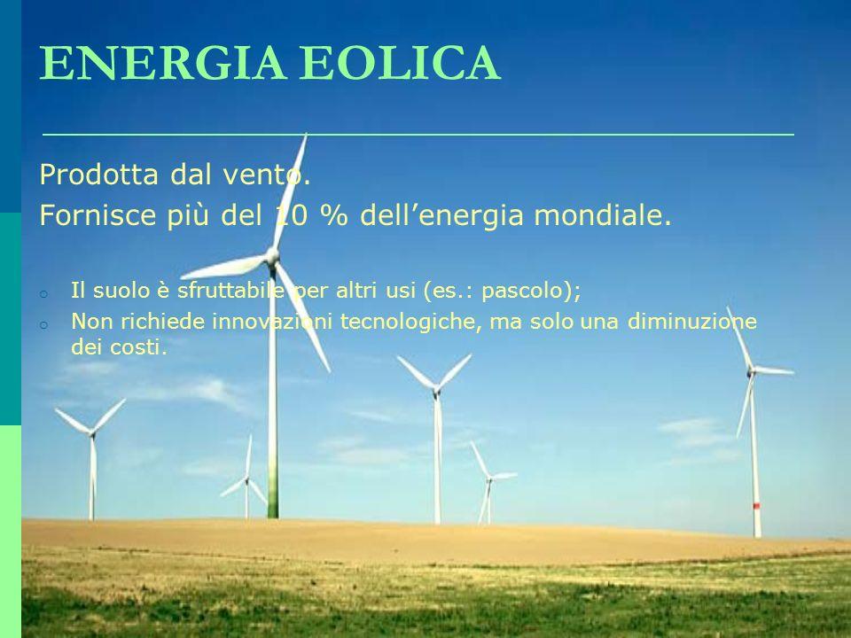 ENERGIA EOLICA Prodotta dal vento.