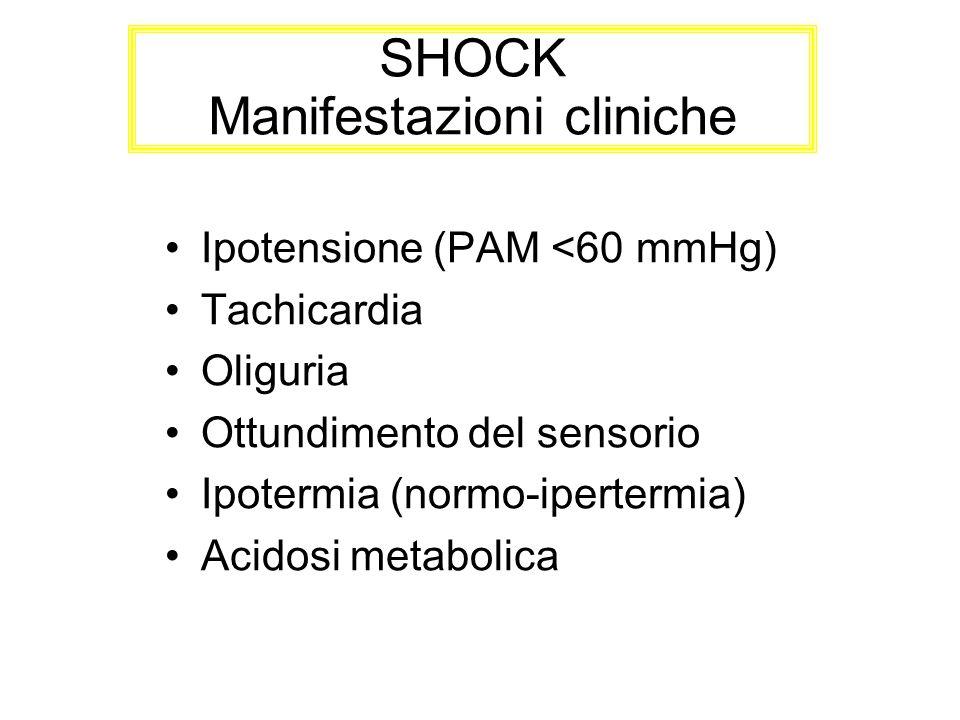 SHOCK Manifestazioni cliniche