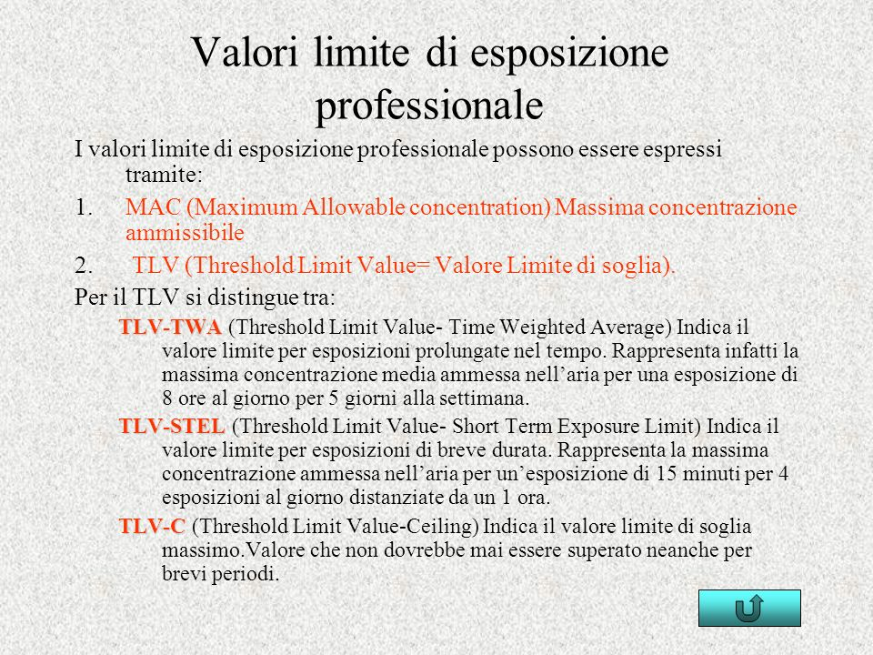 Valori limite di esposizione professionale